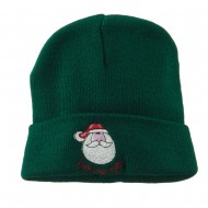 Santa's Face with Ho Ho Ho Embroidered Beanie - Green