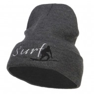 Surf Embroidered Long Beanie - Dk Grey