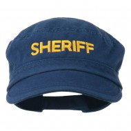 Sheriff Embroidered Enzyme Army Cap - Navy