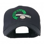 Softball with Bat and Baseball Embroidered Cap - Navy
