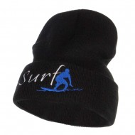 Surf Embroidered Long Beanie - Black