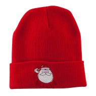 Santa's Face with Ho Ho Ho Embroidered Beanie - Red