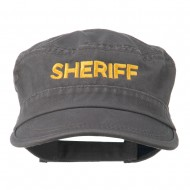 Sheriff Embroidered Enzyme Army Cap - Grey