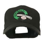 Softball with Bat and Baseball Embroidered Cap - Black