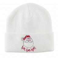 Santa's Face with Ho Ho Ho Embroidered Beanie - White