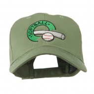 Softball with Bat and Baseball Embroidered Cap - Olive