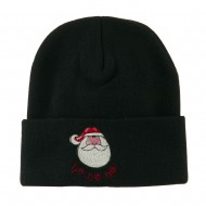 Santa's Face with Ho Ho Ho Embroidered Beanie - Black