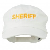 Sheriff Embroidered Enzyme Army Cap - White