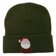 Santa's Face with Ho Ho Ho Embroidered Beanie - Olive