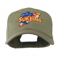 Surfing Board Logo Embroidered Cap - Olive
