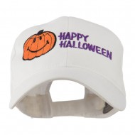 Happy Halloween Smiley Pumpkin Embroidered Cap - White