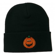 Halloween Surprised Jack o Lantern Embroidered Long Beanie - Navy
