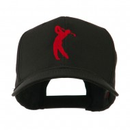 Silhouette of Golfer Swing Embroidered Cap - Black