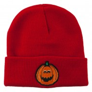 Halloween Surprised Jack o Lantern Embroidered Long Beanie - Red