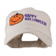 Happy Halloween Smiley Pumpkin Embroidered Cap - Stone
