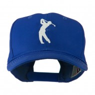 Silhouette of Golfer Swing Embroidered Cap - Royal