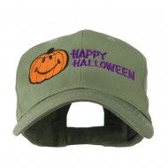 Happy Halloween Smiley Pumpkin Embroidered Cap - Olive