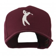 Silhouette of Golfer Swing Embroidered Cap - Maroon