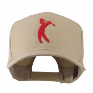 Silhouette of Golfer Swing Embroidered Cap - Khaki