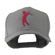 Silhouette of Golfer Swing Embroidered Cap - Grey