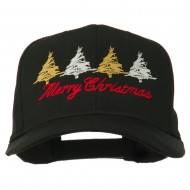 Merry Christmas Trees Embroidered Cap - Black
