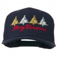 Merry Christmas Trees Embroidered Cap - Navy