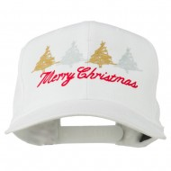 Merry Christmas Trees Embroidered Cap - White