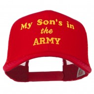 My Son is in the Army Embroidered Mesh Cap - Red