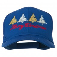 Merry Christmas Trees Embroidered Cap - Royal
