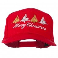 Merry Christmas Trees Embroidered Cap - Red