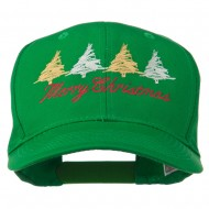 Merry Christmas Trees Embroidered Cap - Kelly