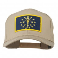 State of Indiana Embroidered Patch Cap - Khaki