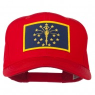 State of Indiana Embroidered Patch Cap - Red