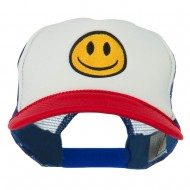 Smiley Face Embroidered Foam Mesh Back Cap - Red White Royal