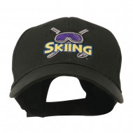 Skiing Logo with Pole and Goggle Embroidered Cap - Black