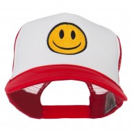 Smiley Face Embroidered Foam Mesh Back Cap - Red White Red