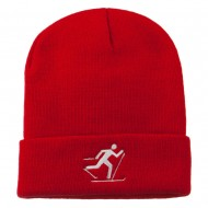 Ski Team Logo Embroidered Long Knit Beanie - Red