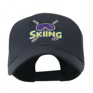 Skiing Logo with Pole and Goggle Embroidered Cap - Navy