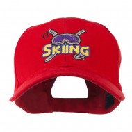 Skiing Logo with Pole and Goggle Embroidered Cap - Red