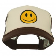 Smiley Face Embroidered Foam Mesh Back Cap - Brown Tan