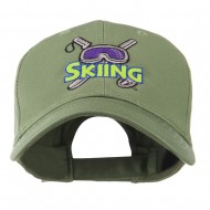 Skiing Logo with Pole and Goggle Embroidered Cap - Olive