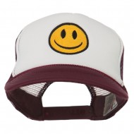 Smiley Face Embroidered Foam Mesh Back Cap - Maroon White
