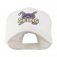 Skiing Logo with Pole and Goggle Embroidered Cap - White