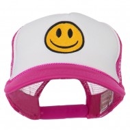 Smiley Face Embroidered Foam Mesh Back Cap - Hot Pink White