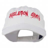 Halloween Skeleton Army Embroidered Low Profile Washed Cap - White