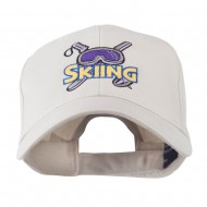 Skiing Logo with Pole and Goggle Embroidered Cap - Stone