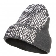 Stones Detailed Knit Long Beanie - Grey