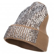 Stones Detailed Knit Long Beanie - Sand