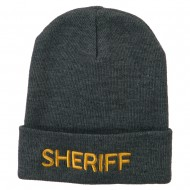 Sheriff Military Embroidered Long Cuff Beanie - Grey