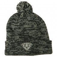Small Diamond Embroidered Pom Beanie - Marled